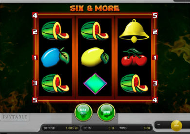 Zábavný online casino automat Six and More zdarma