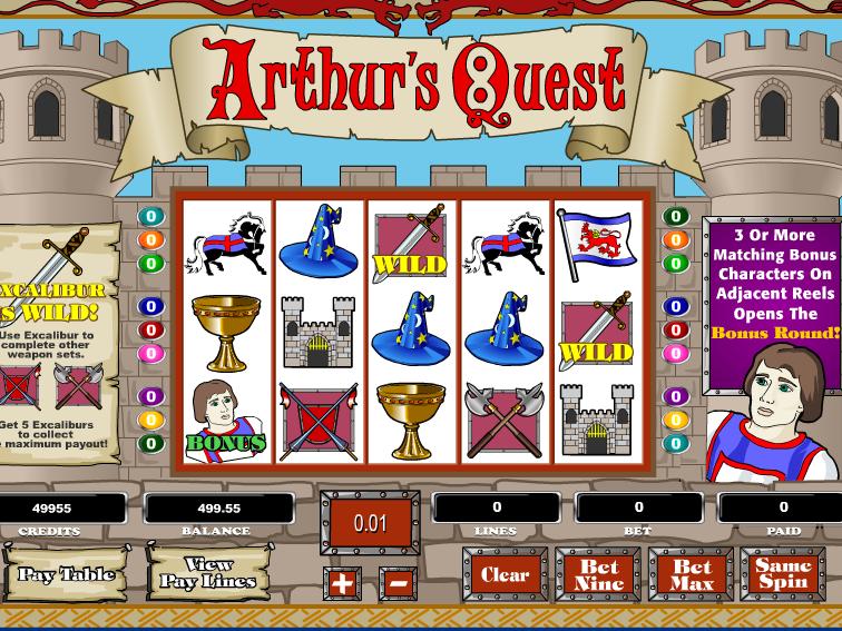 obrázek ze hry automatu Arthur´s Quest online zdarma
