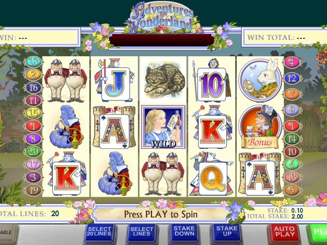 obrázek ze hry automatu alice´s wonderland online zdarma