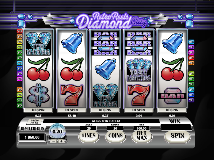 obrázek ze hry automatu retro reels diamond glitz online zdarma
