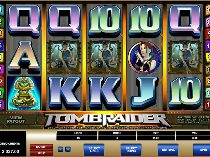 výstřižek ze hry automatu Tomb Raider online zdarma
