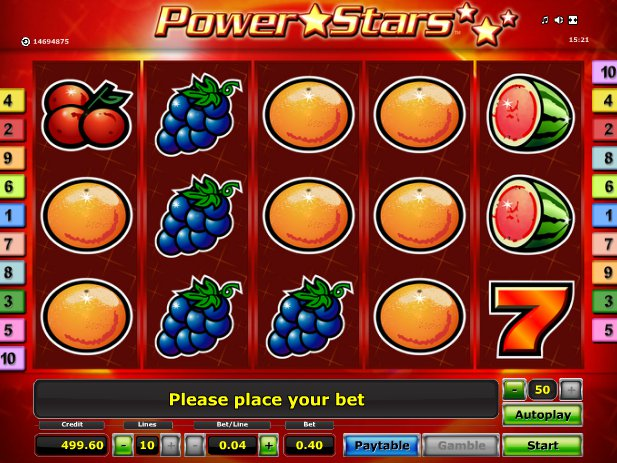 Casino automat Power Stars online zdarma