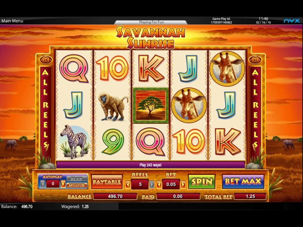 Hrací casino automat Savannah Sunrise