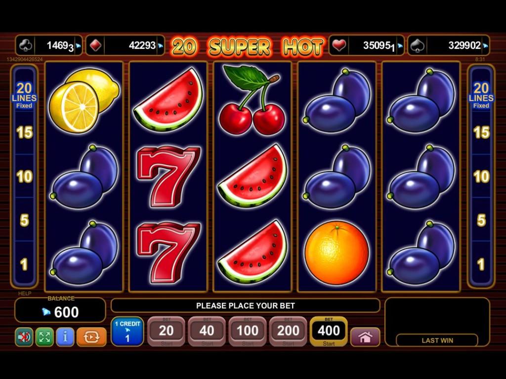 Výherní online automat 20 Super Hot bez registrace