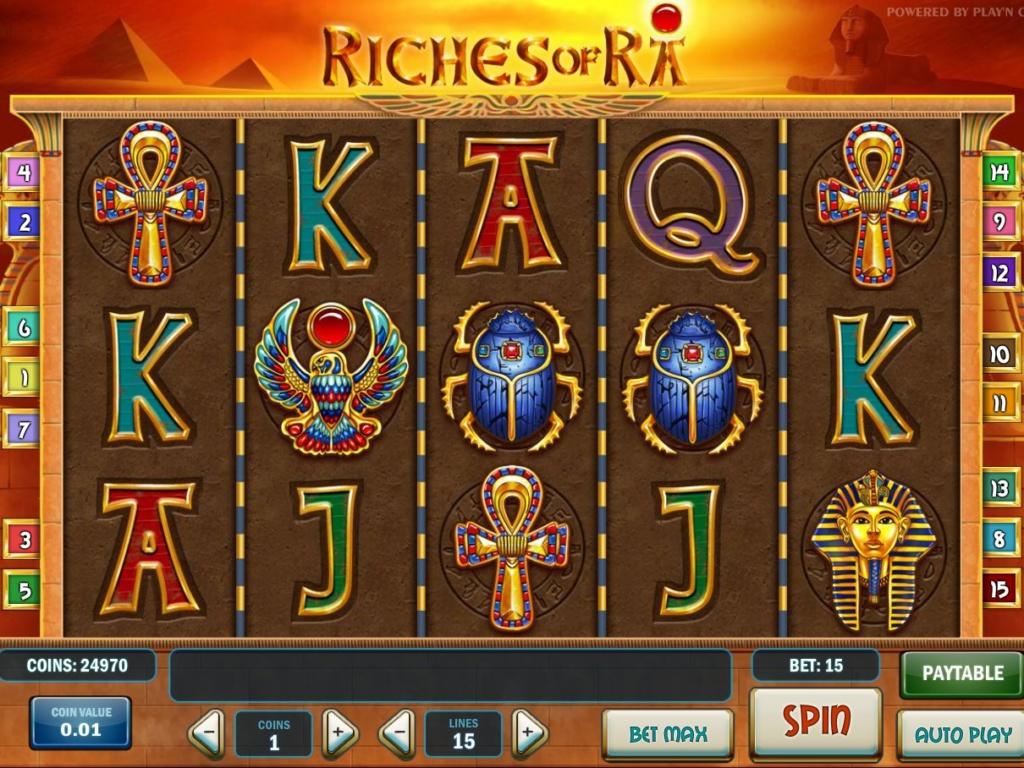 Herní online automat Riches of ra bez registrace