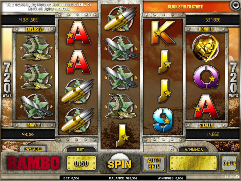 Herní automat zdarma Rambo