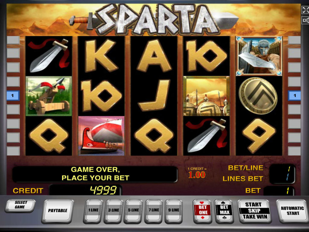 Online automat zdarma Sparta bez vkladu