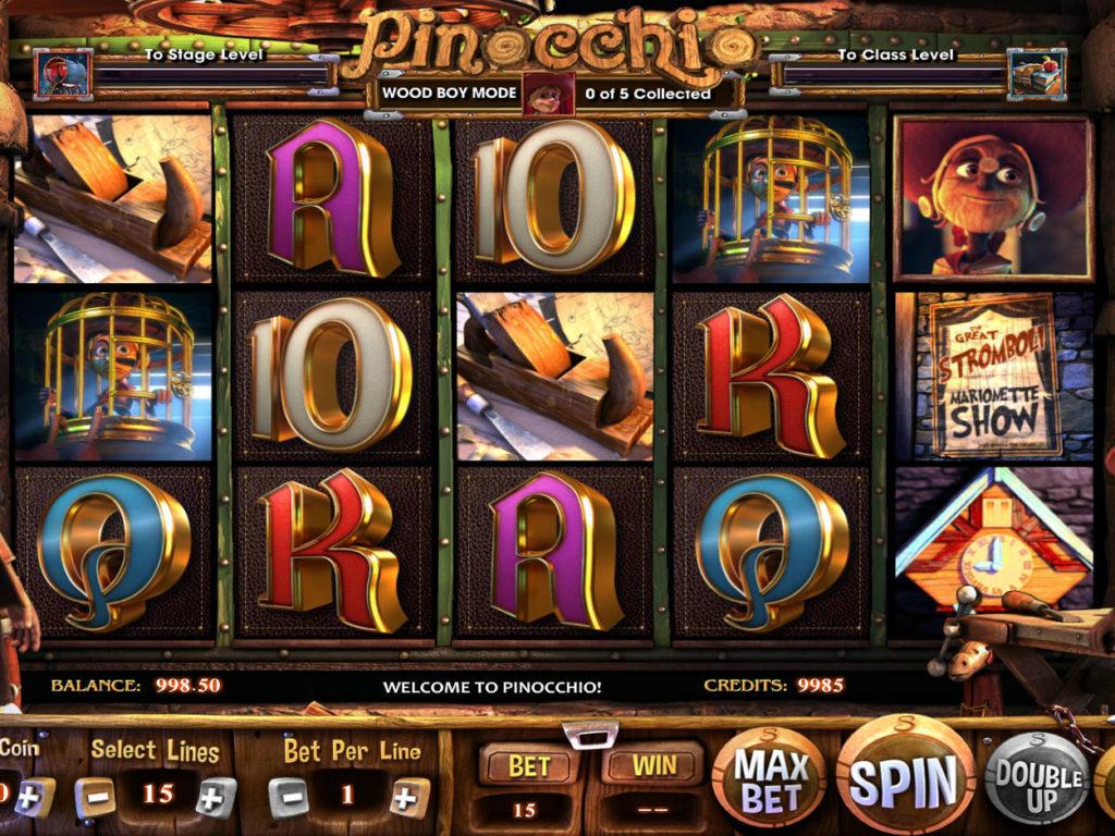 Hrací kasino automat Pinocchio bez registrace