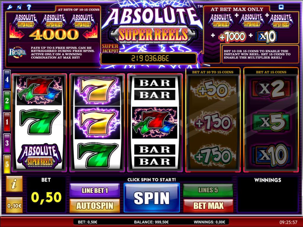 Herní automat Absolute Super Reels online