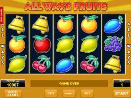 Hrací automat All Ways Fruits bez stahování a bez vkladu
