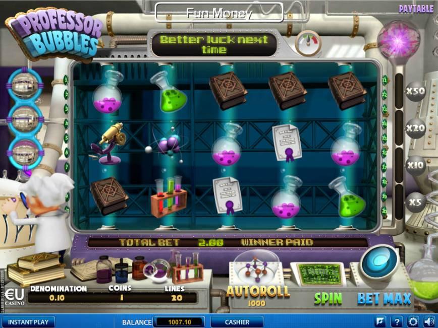 Hrací automat Professor Bubbles bez vkladu