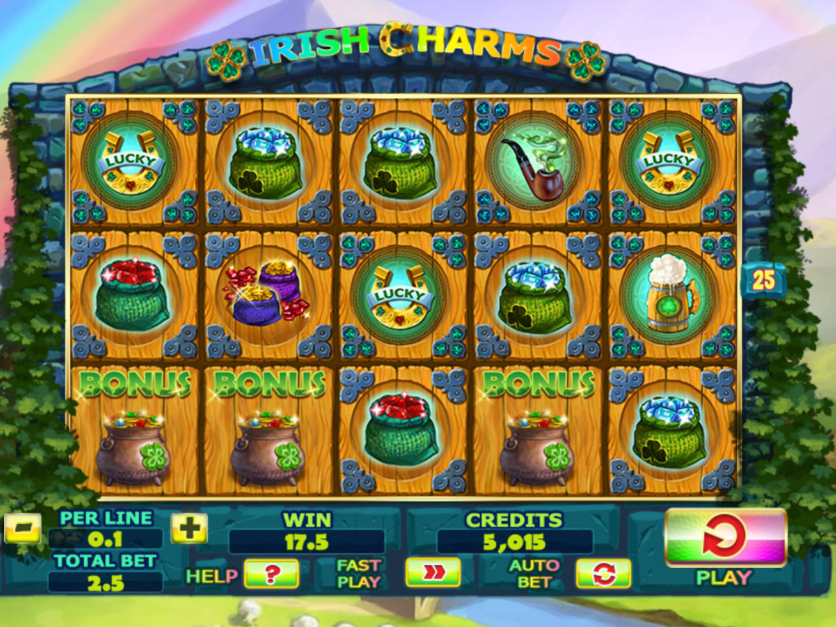 Roztočte online casino automat Irish Charms zdarma