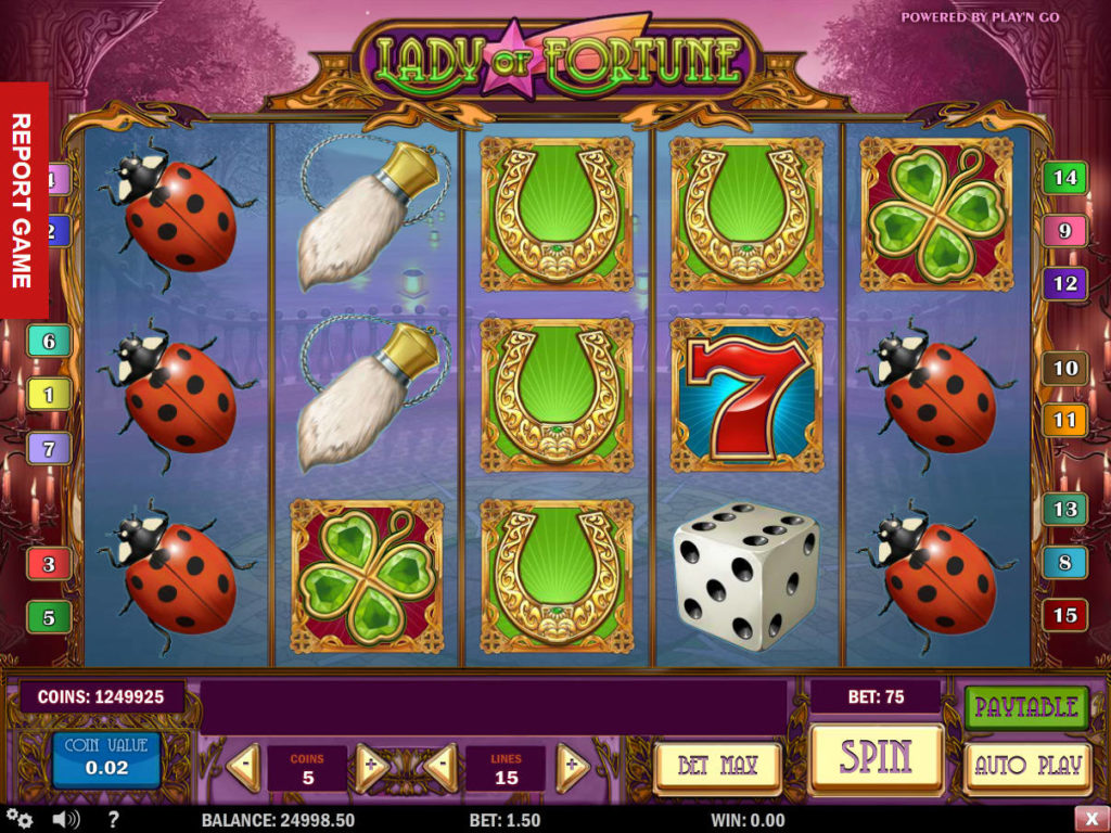 Online casino automat Lady of Fortune zdarma, bez vkladu