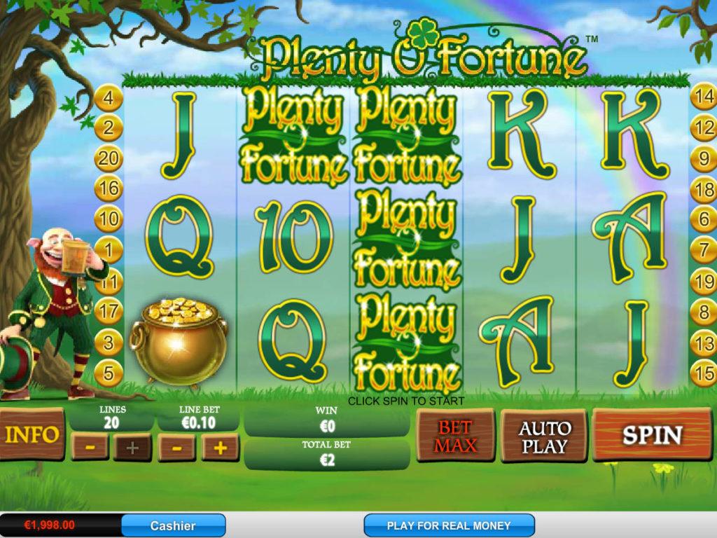 Zahrajte si casino automat Plenty O'Fortune zdarma