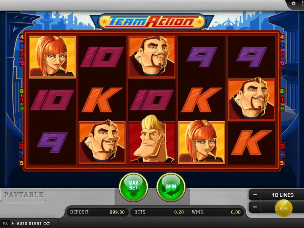 Zahrajte si online casino automat Team Action zdarma