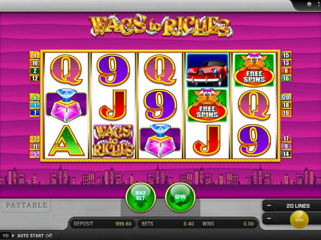 Automatová casino hra Wags to Riches bez stahování
