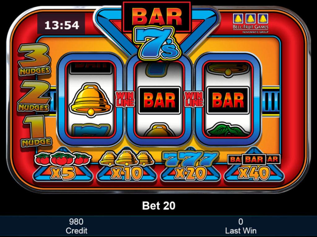Online herní automat Bar 7's zdarma, bez vkladu