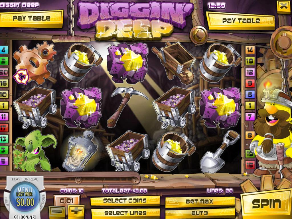 Casino automat Diggin' Deep bez vkladu