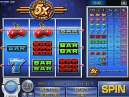 Online herní automat Five Times Wins bez stahování