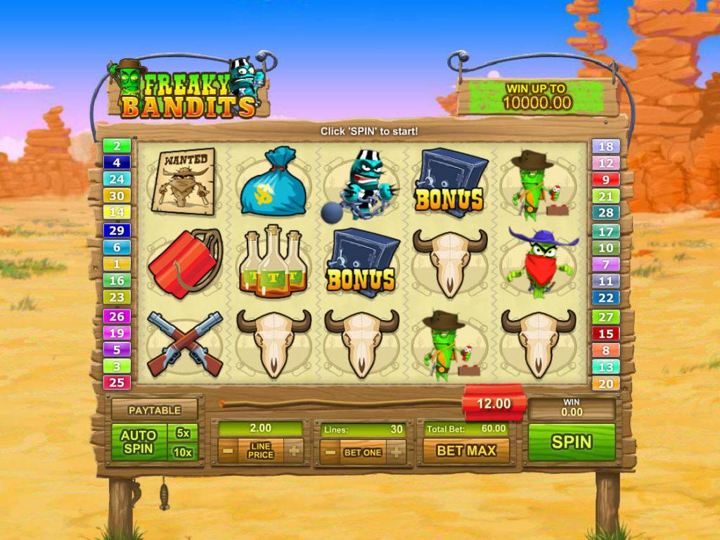 Online casino automat Freaky Bandits zdarma