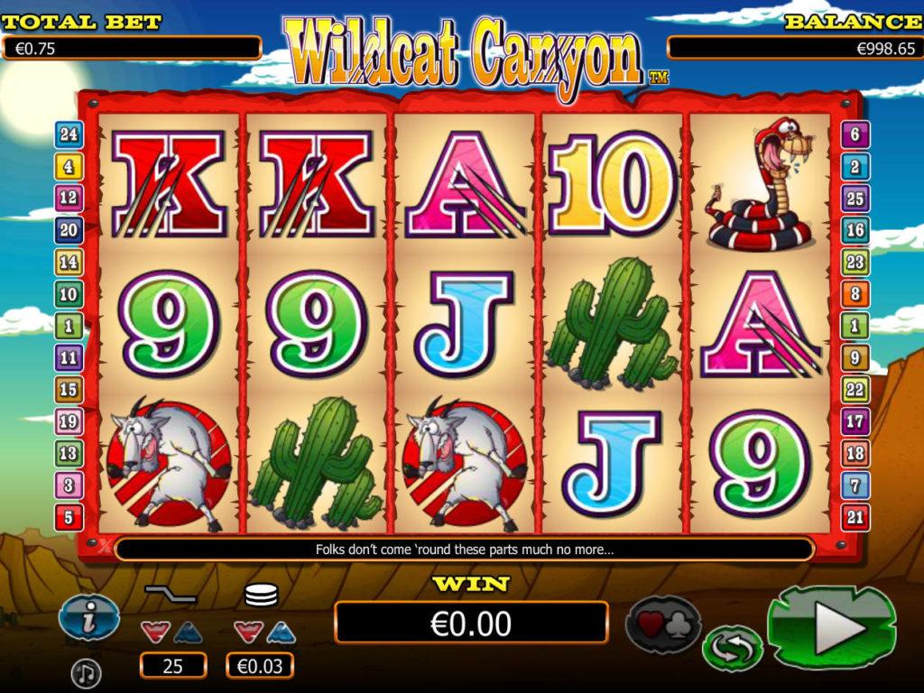 Online casino automat Wildcat Canyon pro zábavu