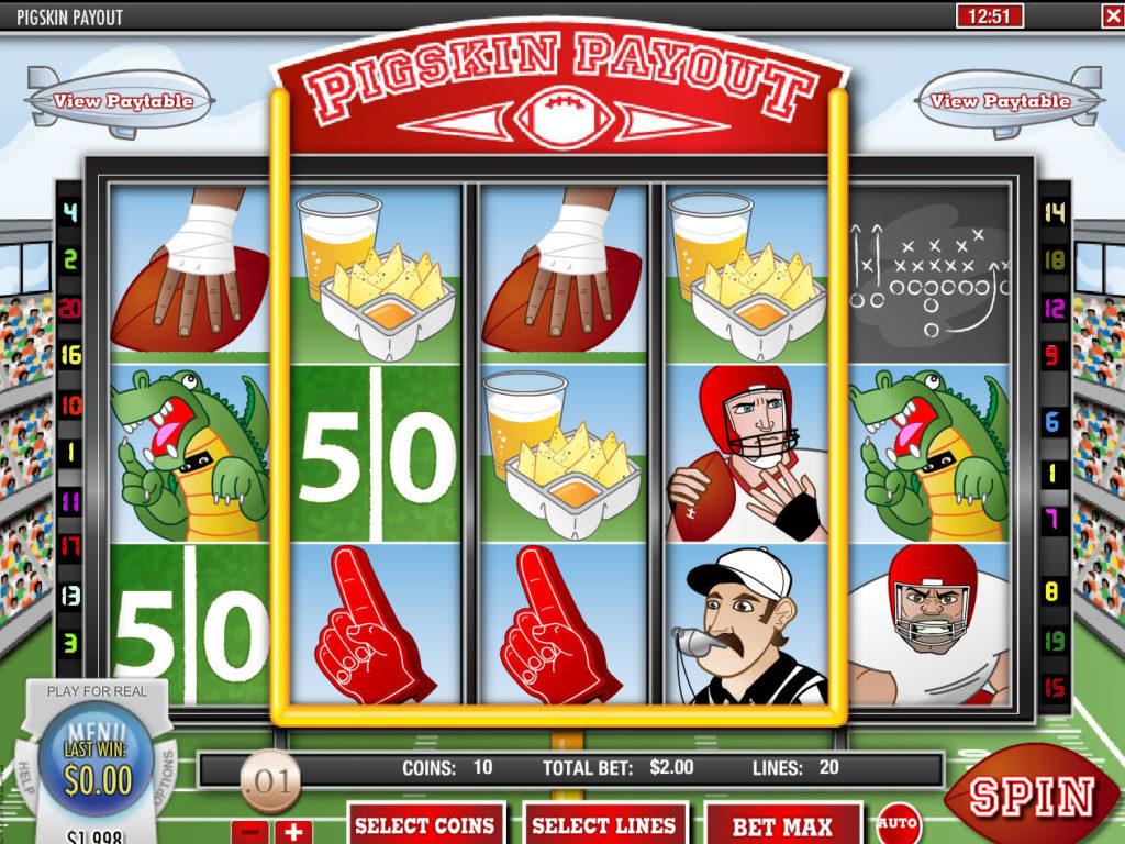 Herní automat Pigskin Payout bez vkladu