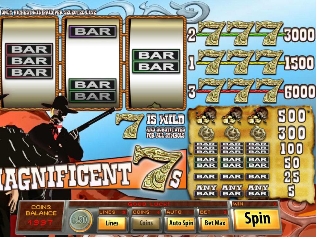 Roztočte online casino automat Magnificent 7s