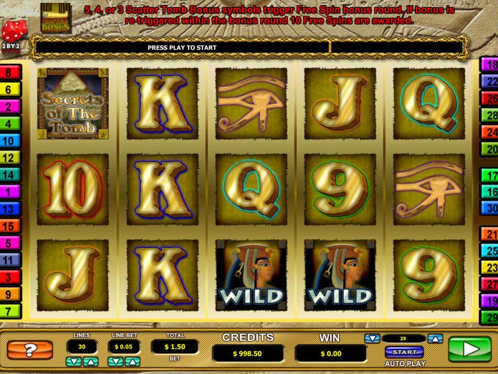 Casino automat Secrets of the Tomb bez vkladu
