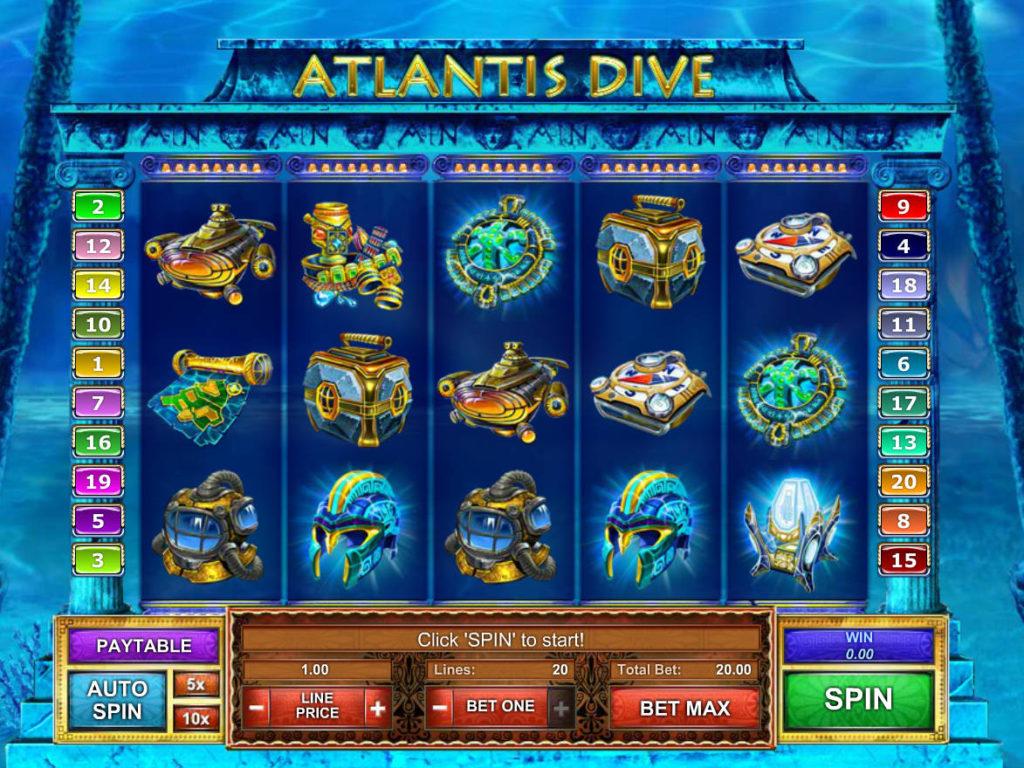 Online casino automat Atlantis Dive