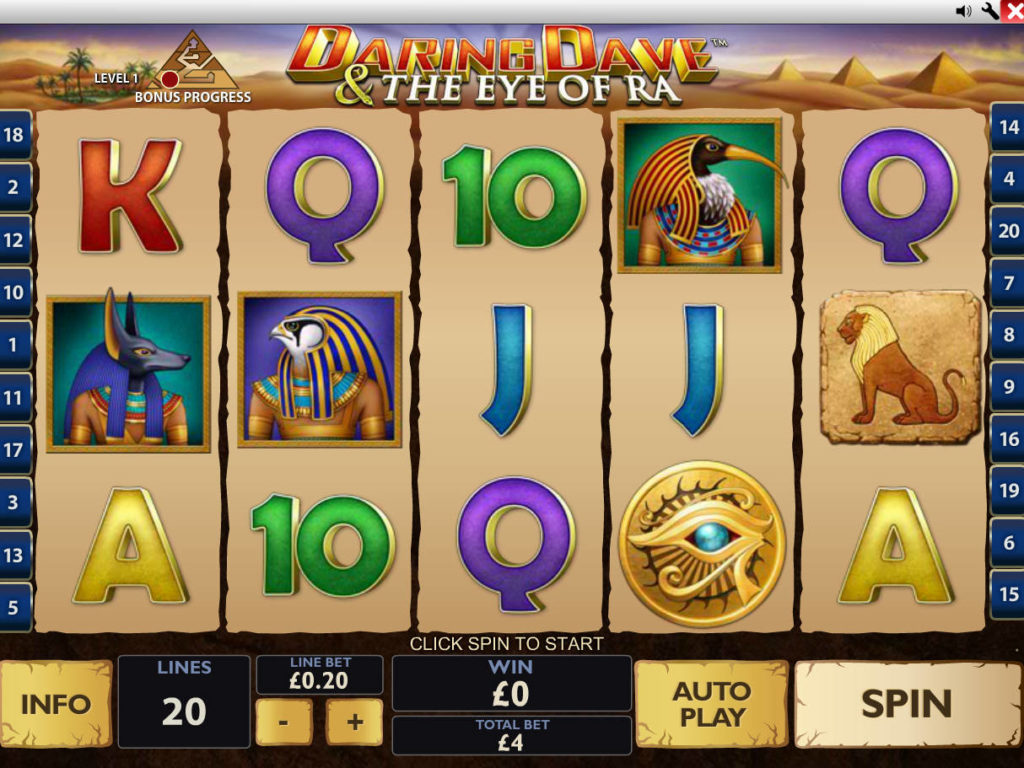 Casino automat Daring Dave and The Eye of Ra od společnosti Playtech