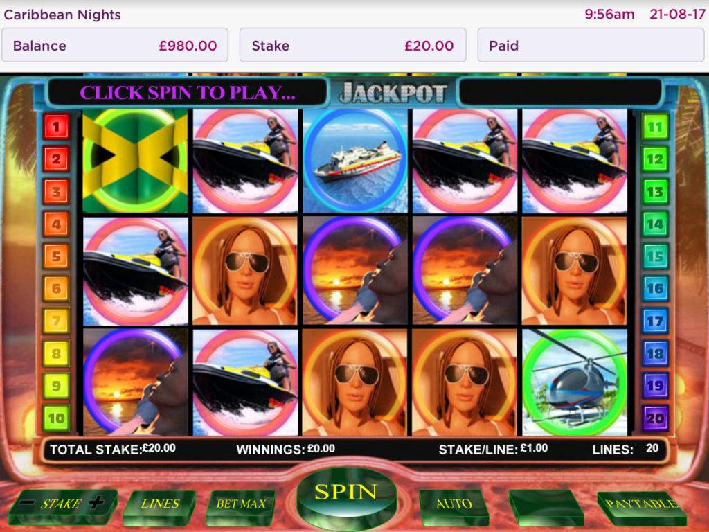 Zahrajte si online casino automat Caribbean Nights zdarma, bez vkladu
