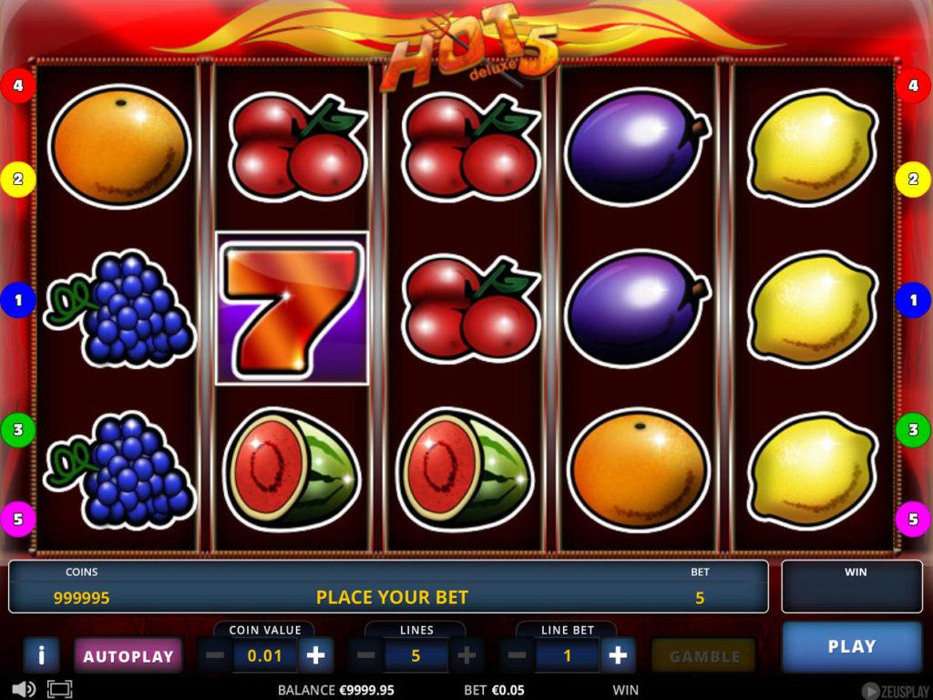 Casino automat Hot 5 Deluxe bez stahování