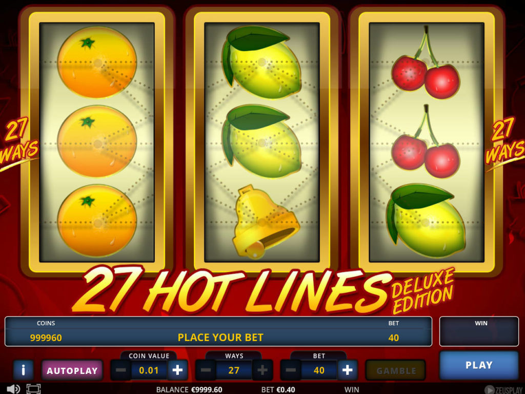 Online casino automat 27 Hot Lines Deluxe Edition zdarma