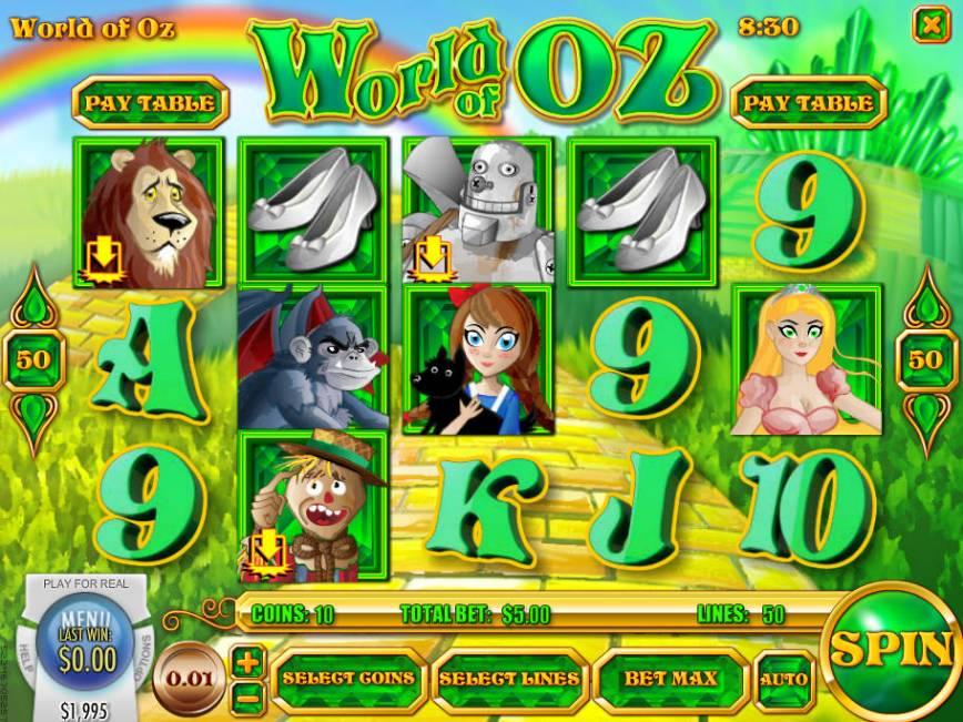 Zahrajte si casino automat World of Oz zdarma