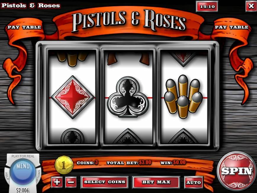 Roztočte casino automat Pistols and Roses zdarma