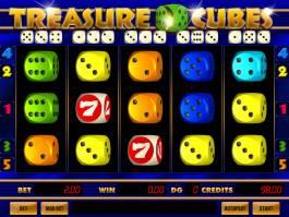 Roztočte válce herního automatu Treasure Cubes