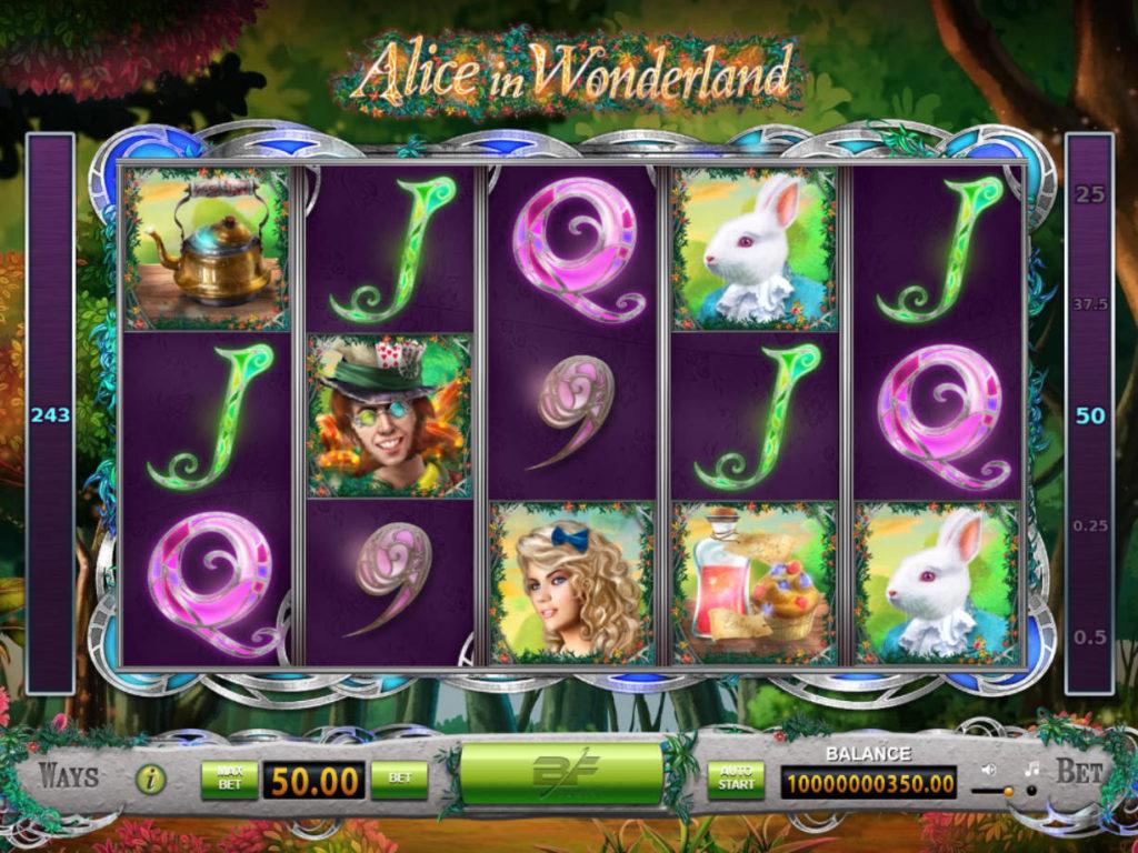 Zábavný casino automat Alice in Wonderland online