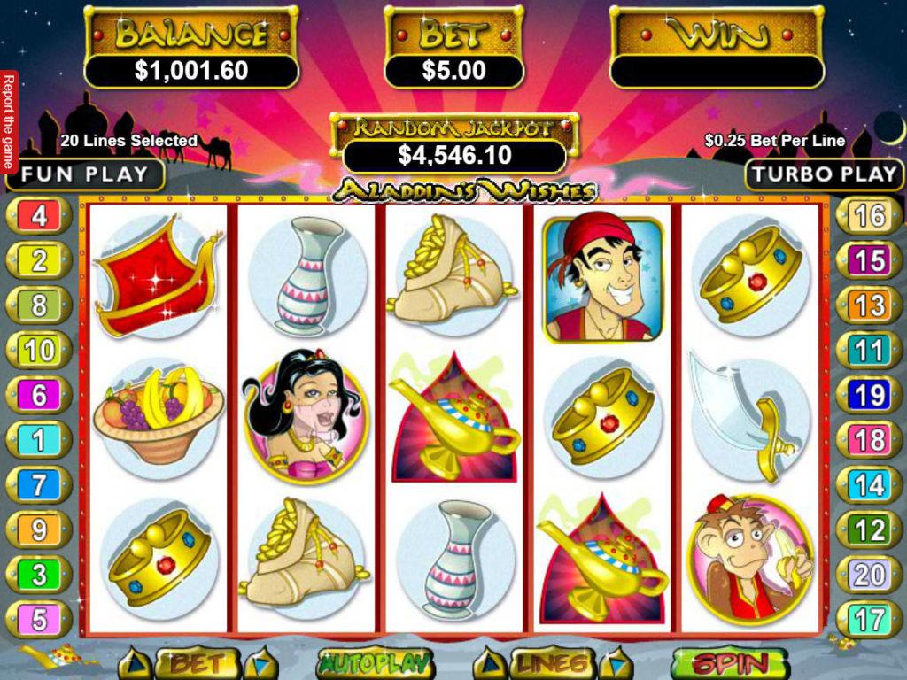 Online casino automat Aladdin´s Wishes