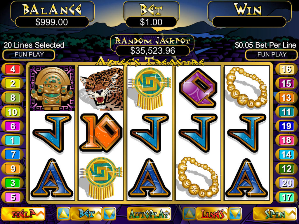 Casino automat Aztec´s Treasure bez vkladu