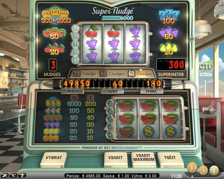 Online casino automat Super Nudge 6000 zdarma