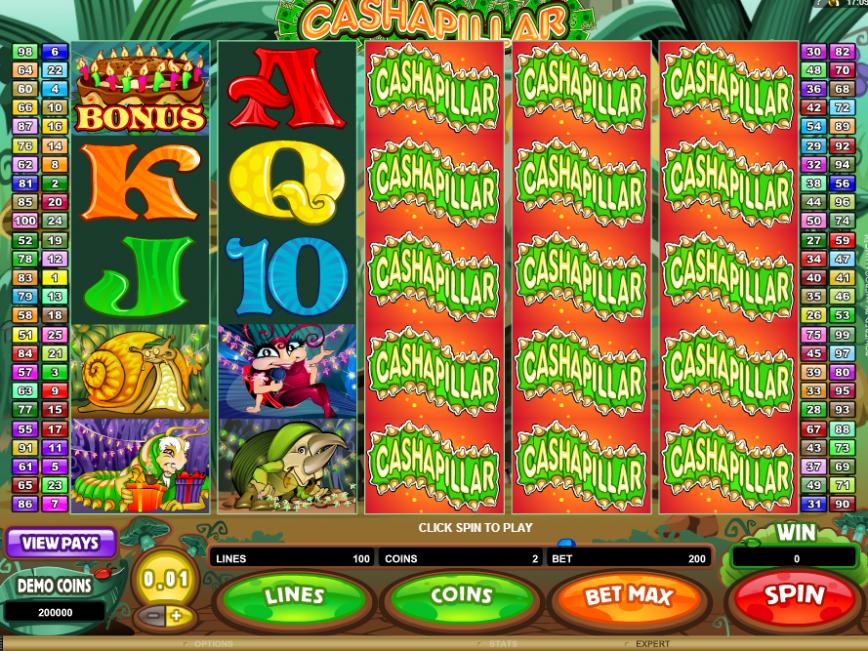 Herní casino automat Cashapillar online zdarma