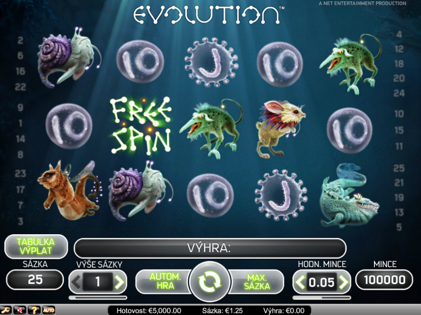 Herní automat zdarma Evolution online